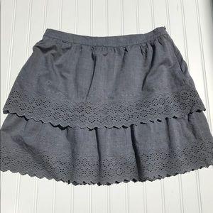 J. Crew Eyelet Skirt, Gray, Size 10
